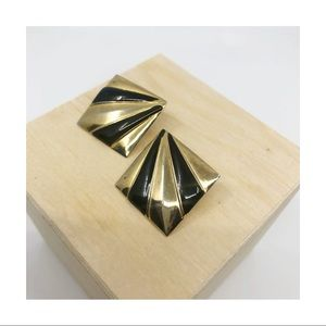 Vintage Gold and Black Square Earrings